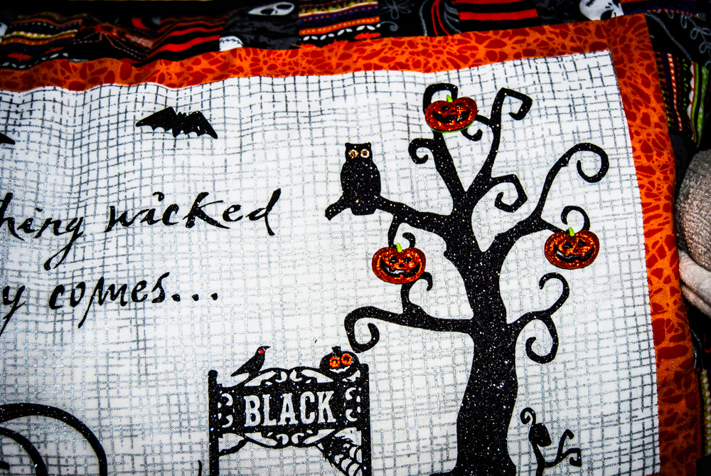 Something Wicked Comes this way quilted halloween scene pillow