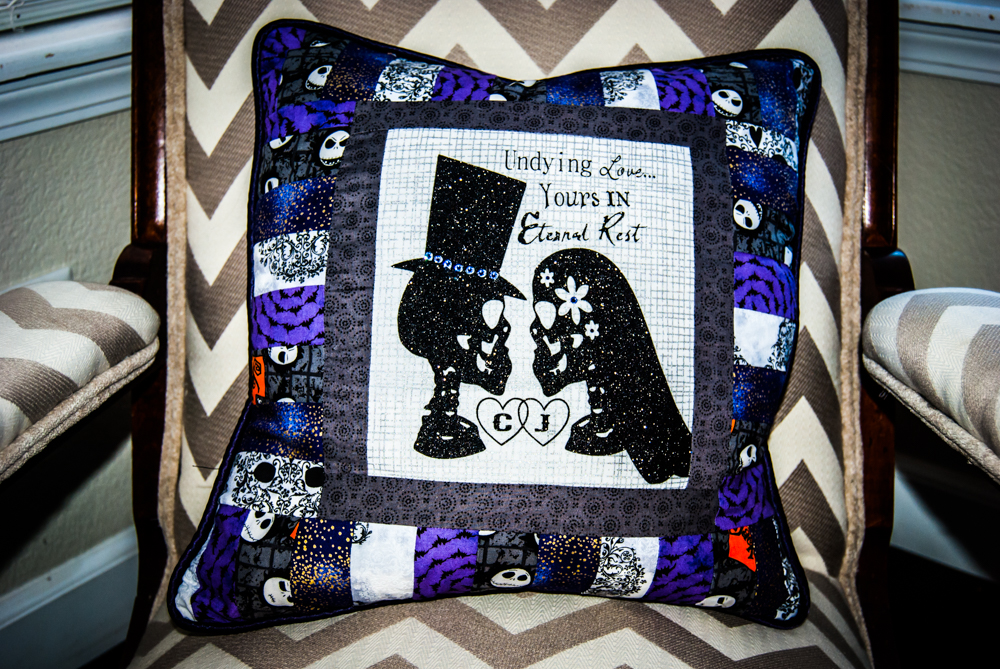 Undying Love Skeleton Monogram Pillow/ Halloween