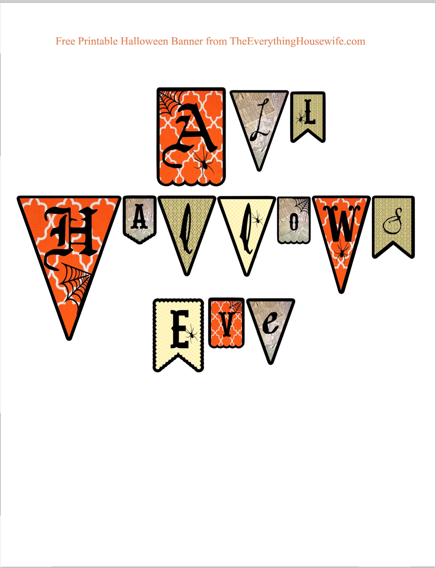 image regarding Free Printable Halloween Banner named Totally free Printable All Hallows Eve Banner - the every little thing housewife